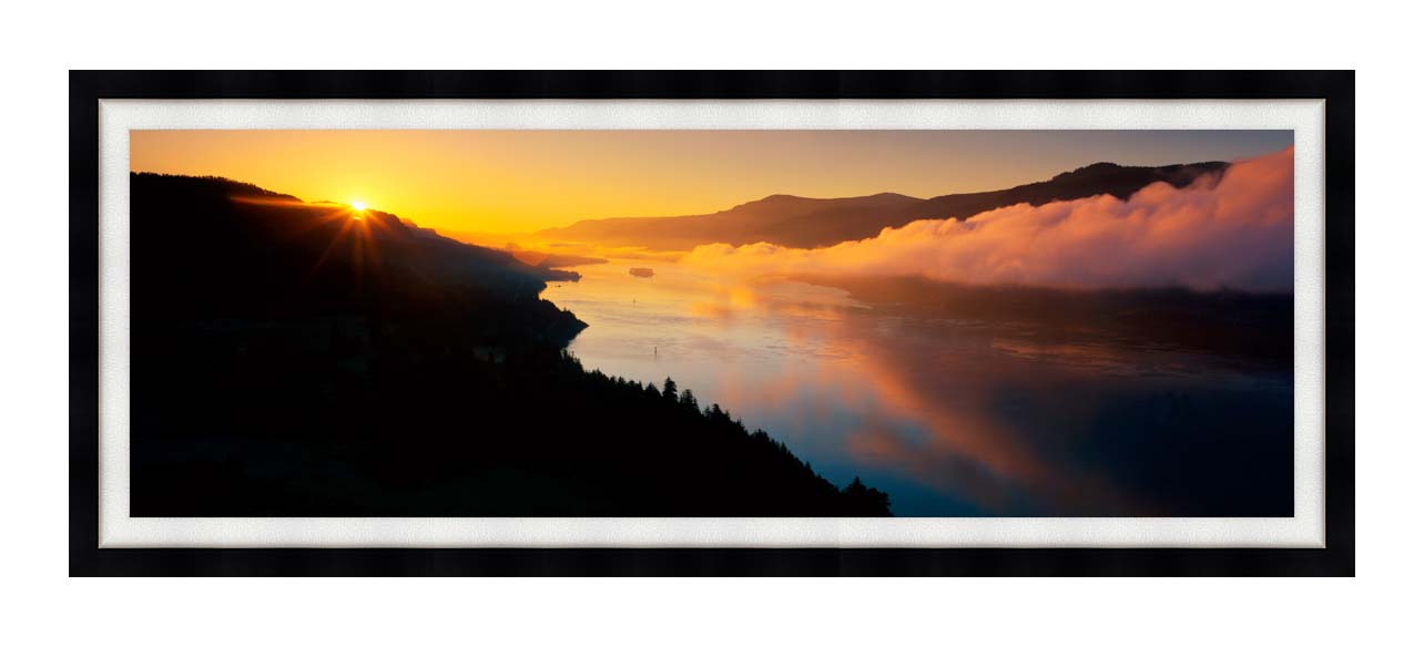 Visions of America Cape Horn on the Columbia River Gorge with Modern Black Frame