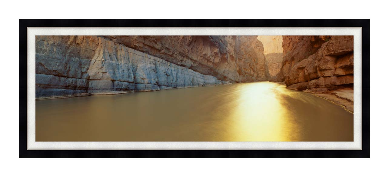 Visions of America Rio Grande River on the Mexico - U S Border with Modern Black Frame