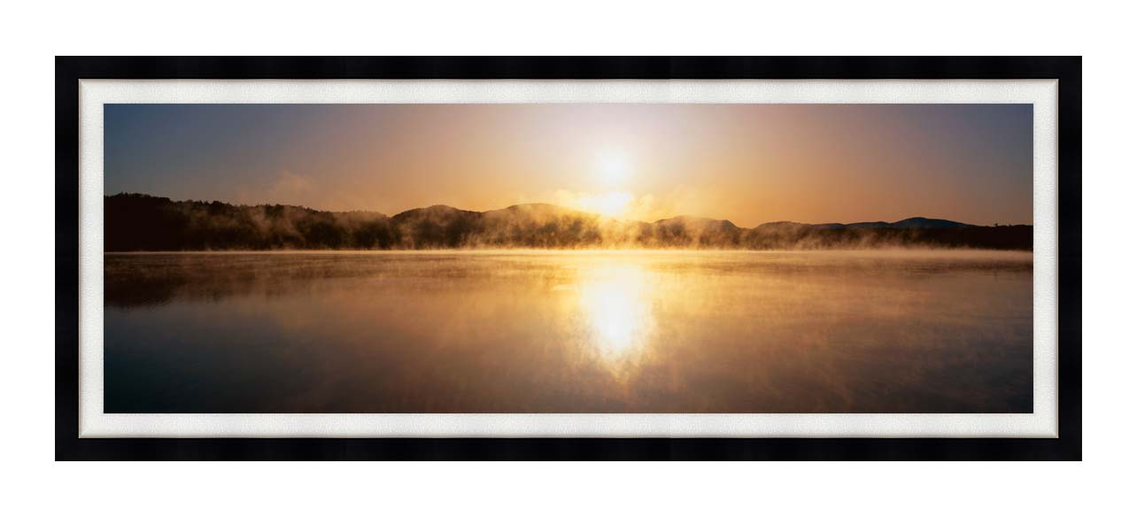 Visions of America Sunset on Lake Placid New York with Modern Black Frame
