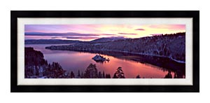 Visions of America Emerald Bay At Sunrise In Winter canvas with Modern Black frame