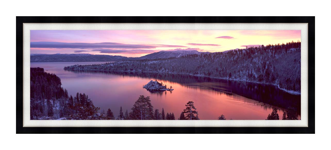 Visions of America Emerald Bay at Sunrise in Winter with Modern Black Frame