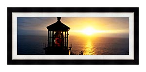 Visions of America Cape Meares Lighthouse At Sunset canvas with Modern Black frame