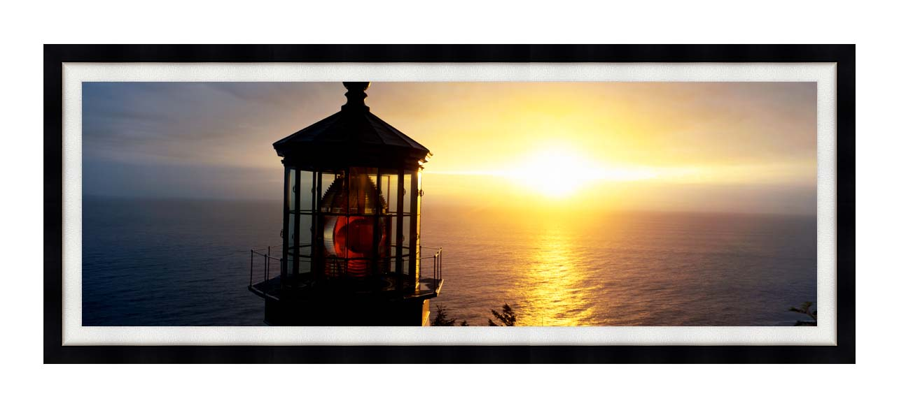 Visions of America Cape Meares Lighthouse at Sunset with Modern Black Frame