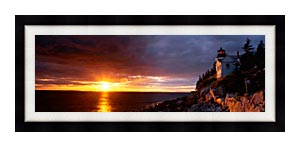 Visions of America Bass Harbor Head Lighthouse At Sunset canvas with Modern Black frame
