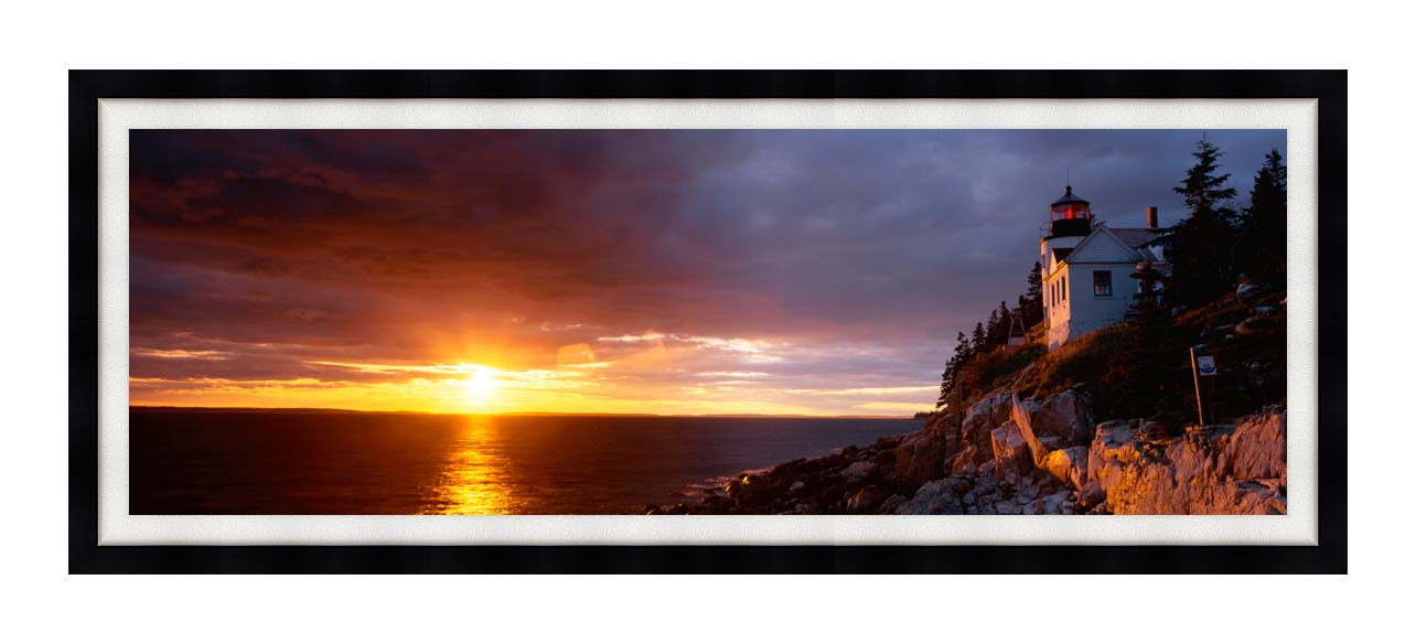 Visions of America Bass Harbor Head Lighthouse at Sunset with Modern Black Frame