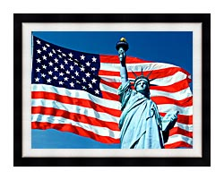 Visions of America American Flag And The Statue Of Liberty canvas with modern black frame