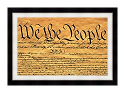 Visions of America Preamble To The U S Constitution   We The People canvas with modern black frame