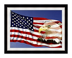 Visions of America American Flag  And A Bald Eagle canvas with modern black frame