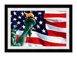 Visions of America Statue Of Liberty And American Flag canvas with modern black frame