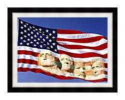 Visions of America American Flag And Mount Rushmore Presidents canvas with modern black frame