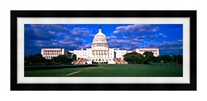 Visions of America West View Of The U S Capitol At Sunset canvas with Modern Black frame