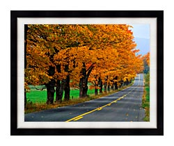 Visions of America An Autumn Road In New England canvas with modern black frame
