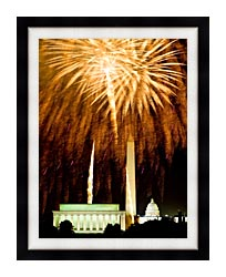 Visions of America Fourth Of July Celebration With Fireworks Exploding Over The Lincoln Memorial Washington Monument And U S Capitol Washington D C canvas with modern black frame