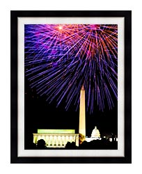 Visions of America Patriotic Fourth Of July Celebration With Fireworks canvas with modern black frame