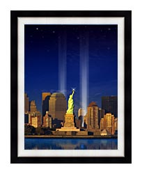 Visions of America World Trade Center Light Memorial canvas with modern black frame