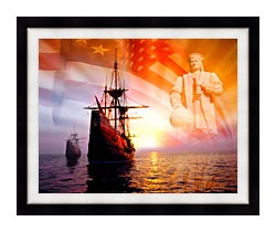 Visions of America Christopher Columbus American Flag Sailing Ships canvas with modern black frame