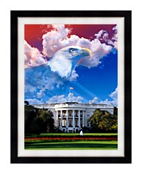Visions of America The White House With American Eagle canvas with modern black frame