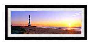 Visions of America Cape Hatteras Lighthouse North Carolina canvas with Modern Black frame