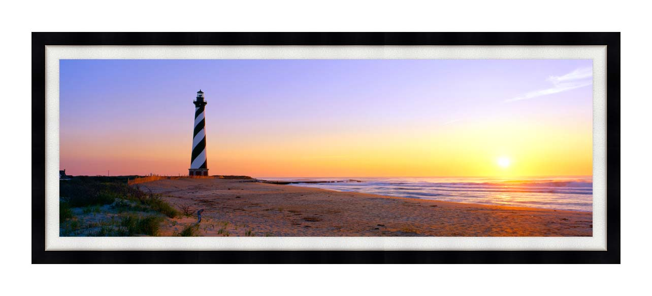 Visions of America Cape Hatteras Lighthouse, North Carolina with Modern Black Frame