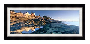 Visions of America Sunrise At Pemaquid Point Lighthouse Maine canvas with Modern Black frame