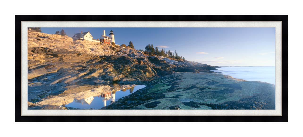 Visions of America Sunrise at Pemaquid Point Lighthouse Maine with Modern Black Frame