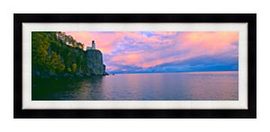 Visions of America Lighthouse At Split Rock Lake Superior Michigan canvas with Modern Black frame