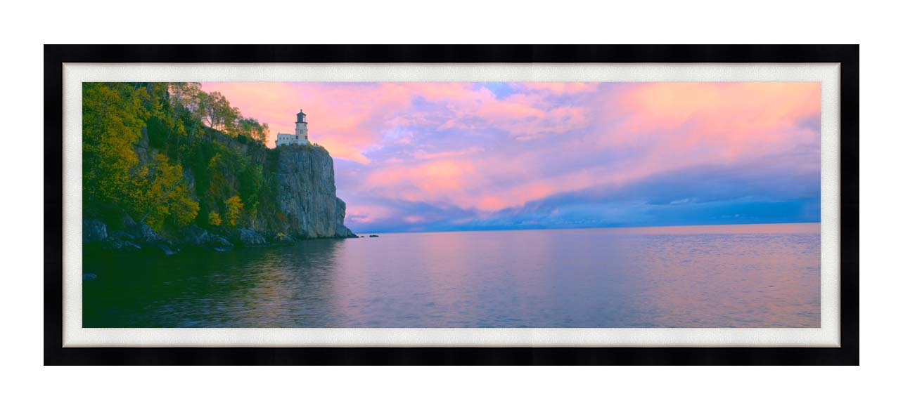 Visions of America Lighthouse at Split Rock, Lake Superior, Michigan with Modern Black Frame