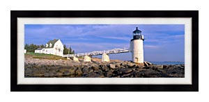 Visions of America Marshall Point Lighthouse Penobscot Bay Maine canvas with Modern Black frame