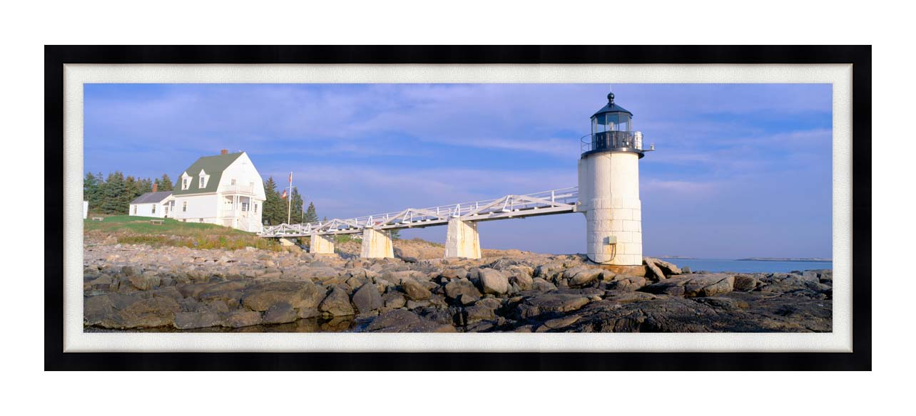 Visions of America Marshall Point Lighthouse, Penobscot Bay, Maine with Modern Black Frame