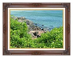 Brandie Newmon Marginal Way Ogunquit Maine canvas with dark regal wood frame