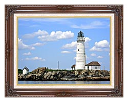 Brandie Newmon Boston Lighthouse Little Brewster Island Massachusetts canvas with dark regal wood frame