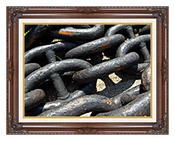Brandie Newmon Ship Anchor Chains canvas with dark regal wood frame