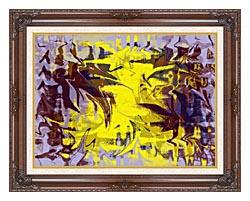 Brandie Newmon Tribal Dance Abstract canvas with dark regal wood frame