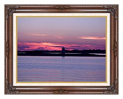 Brandie Newmon Provincetown Lighthouse At Dusk Massachusetts canvas with dark regal wood frame