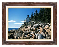 Brandie Newmon Bass Harbor Head Lighthouse canvas with dark regal wood frame