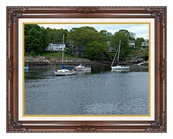 Brandie Newmon Fishing Boats In Ogunquit Maine canvas with dark regal wood frame