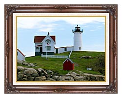Brandie Newmon Cape Neddick Lighthouse York Maine canvas with dark regal wood frame