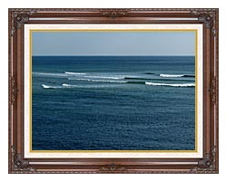 Brandie Newmon Ocean Waves In Ogunquit Maine canvas with dark regal wood frame