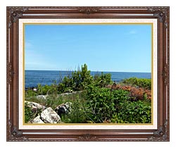 Brandie Newmon Marginal Way Overlook canvas with dark regal wood frame