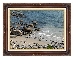 Brandie Newmon Coastline In Ogunquit Maine canvas with dark regal wood frame