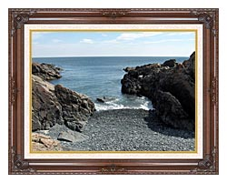 Brandie Newmon Rocks Along The Maine Coastline canvas with dark regal wood frame