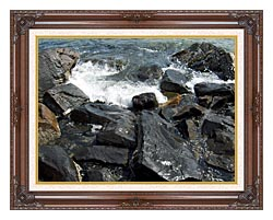 Brandie Newmon Ocean Waves Crashing Into The Rocky Maine Coast canvas with dark regal wood frame