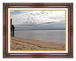 Brandie Newmon Sandy Beach In Provincetown MA canvas with dark regal wood frame