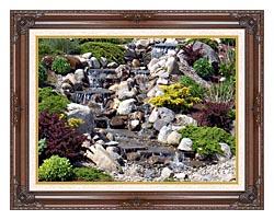 Brandie Newmon Waterfall In Ogunquit Maine canvas with dark regal wood frame