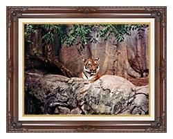 Brandie Newmon Tiger canvas with dark regal wood frame