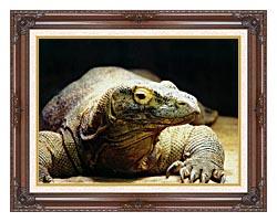 Brandie Newmon Komodo Dragon canvas with dark regal wood frame