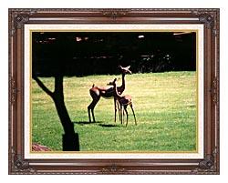 Brandie Newmon Gerenuk Antelopes canvas with dark regal wood frame