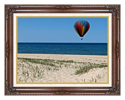 Brandie Newmon Hot Air Balloon At The Beach canvas with dark regal wood frame