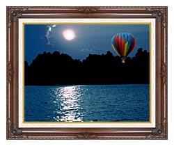 Brandie Newmon Hot Air Balloon At Night canvas with dark regal wood frame