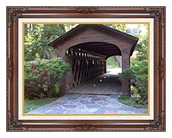 Brandie Newmon Covered Wooden Bridge canvas with dark regal wood frame